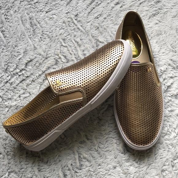 ed270f78 MICHAEL Michael Kors Shoes | New Michael Kors Leather Gold Slip On ...